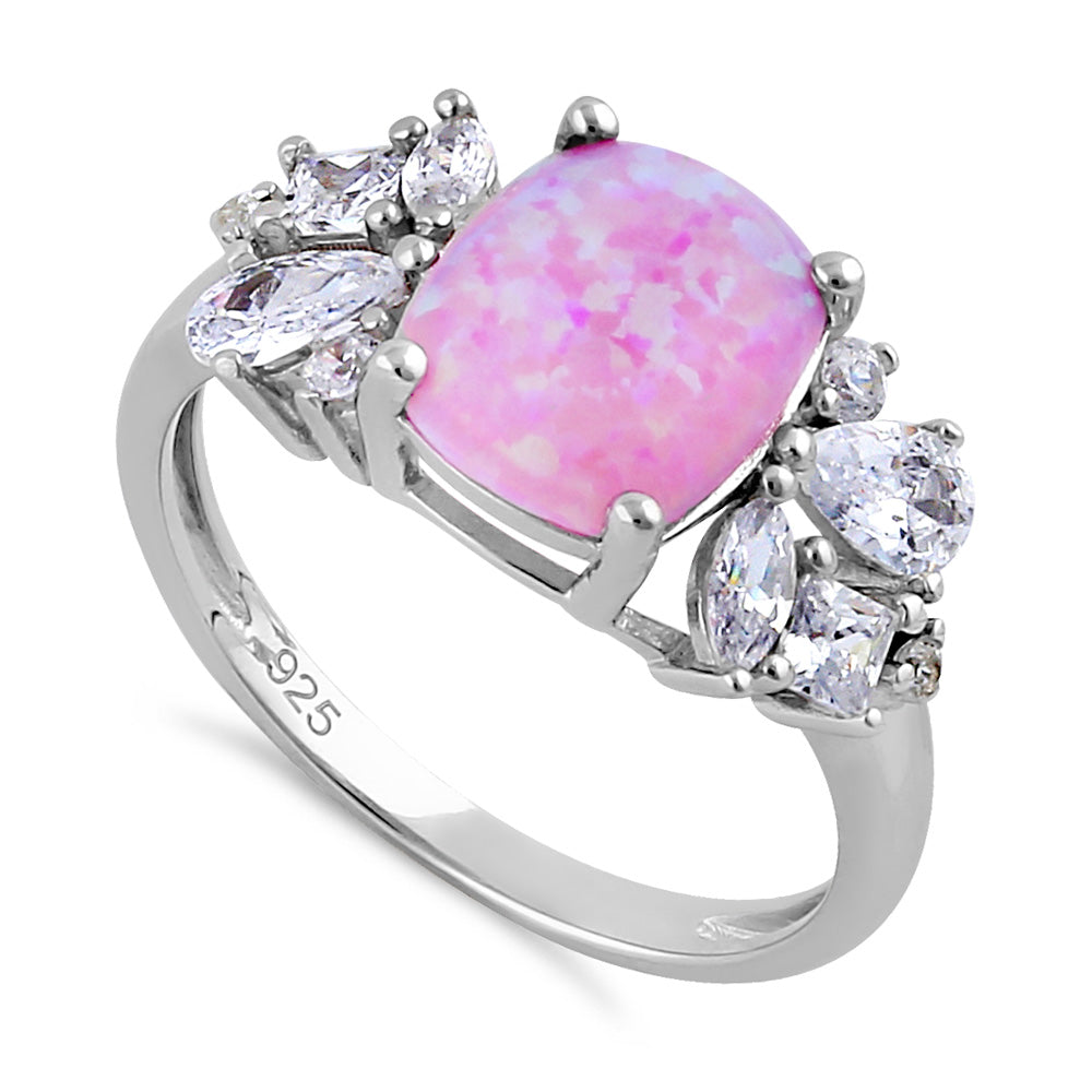 Sterling Silver Elegant Squoval Pink Lab Opal with Clear CZ Ring