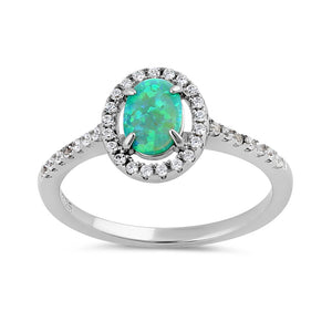 Sterling Silver Green Lab Opal and Clear CZ Oval Halo Ring