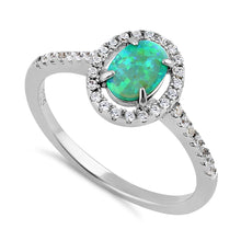 Load image into Gallery viewer, Sterling Silver Green Lab Opal and Clear CZ Oval Halo Ring