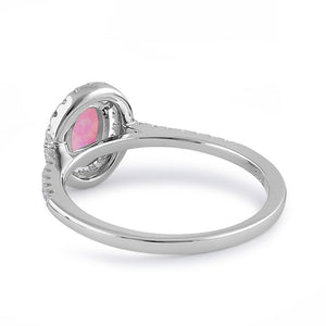 Sterling Silver Pink Lab Opal and Clear CZ Oval Halo Ring