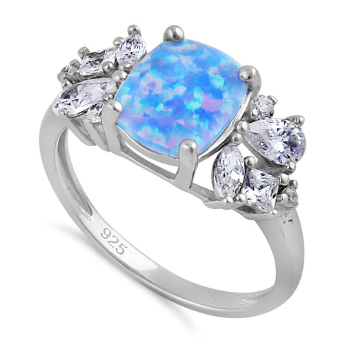 Sterling Silver Elegant Squoval Blue Lavender Lab Opal with Clear CZ Ring