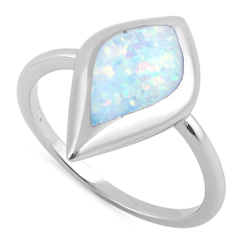 Sterling Silver Mystic Shape White Opal Ring