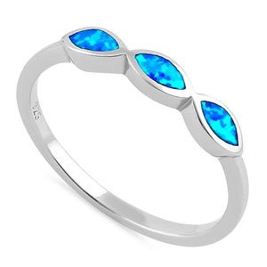 Sterling Silver Triple Marquise Blue Lab Opal Ring