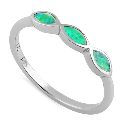 Sterling Silver Triple Marquise Green Lab Opal Ring