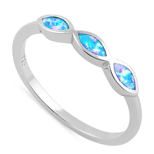Sterling Silver Triple Marquise Blue Lavender Lab Opal Ring