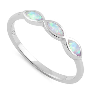 Sterling Silver Triple Marquise White Lab Opal Ring