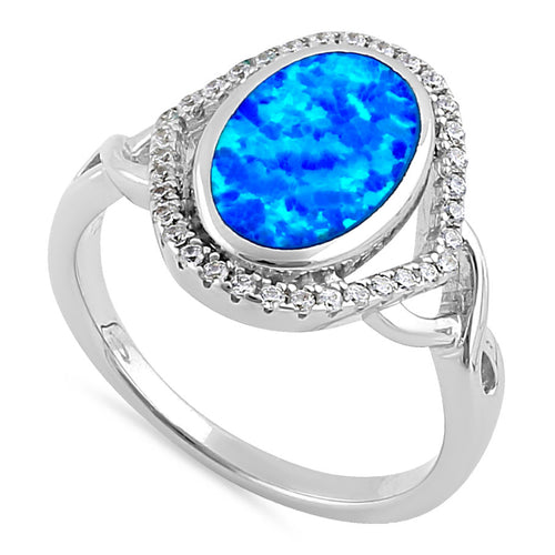 Sterling Silver Blue Lab Opal Oval Halo CZ Ring