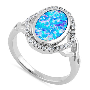 Sterling Silver Blue Lavender Lab Opal Oval Halo CZ Ring