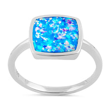 Load image into Gallery viewer, Sterling Silver Square Blue Lavender Lab Opal Ring