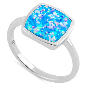 Sterling Silver Square Blue Lavender Lab Opal Ring