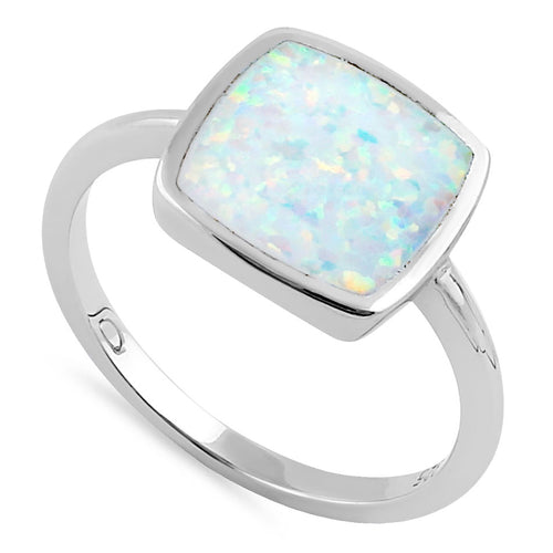 Sterling Silver Square White Lab Opal Ring