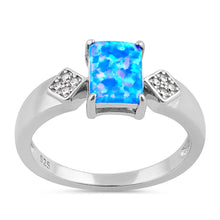 Load image into Gallery viewer, Sterling Silver Elegant Blue Lavender Lab Opal Rectangle CZ Ring