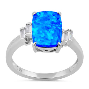 Sterling Silver Blue Lab Opal Rectangular Ring