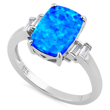 Load image into Gallery viewer, Sterling Silver Blue Lab Opal Rectangular Ring