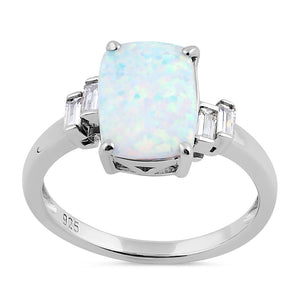 Sterling Silver White Lab Opal Rectangular Ring
