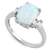 Load image into Gallery viewer, Sterling Silver White Lab Opal Rectangular Ring