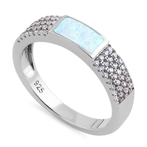 Sterling Silver White Lab Opal Center CZ Band Ring
