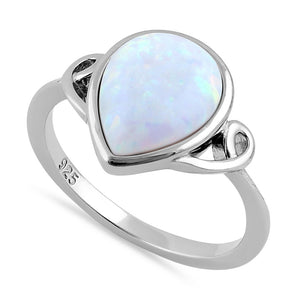 Sterling Silver Curved White Lab Opal Pear Ring