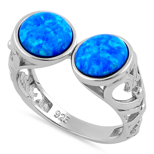 Sterling Silver Filigree Blue Lab Opal Double Sphere Ring