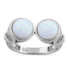 Load image into Gallery viewer, Sterling Silver Filigree White Lab Opal Double Sphere Ring
