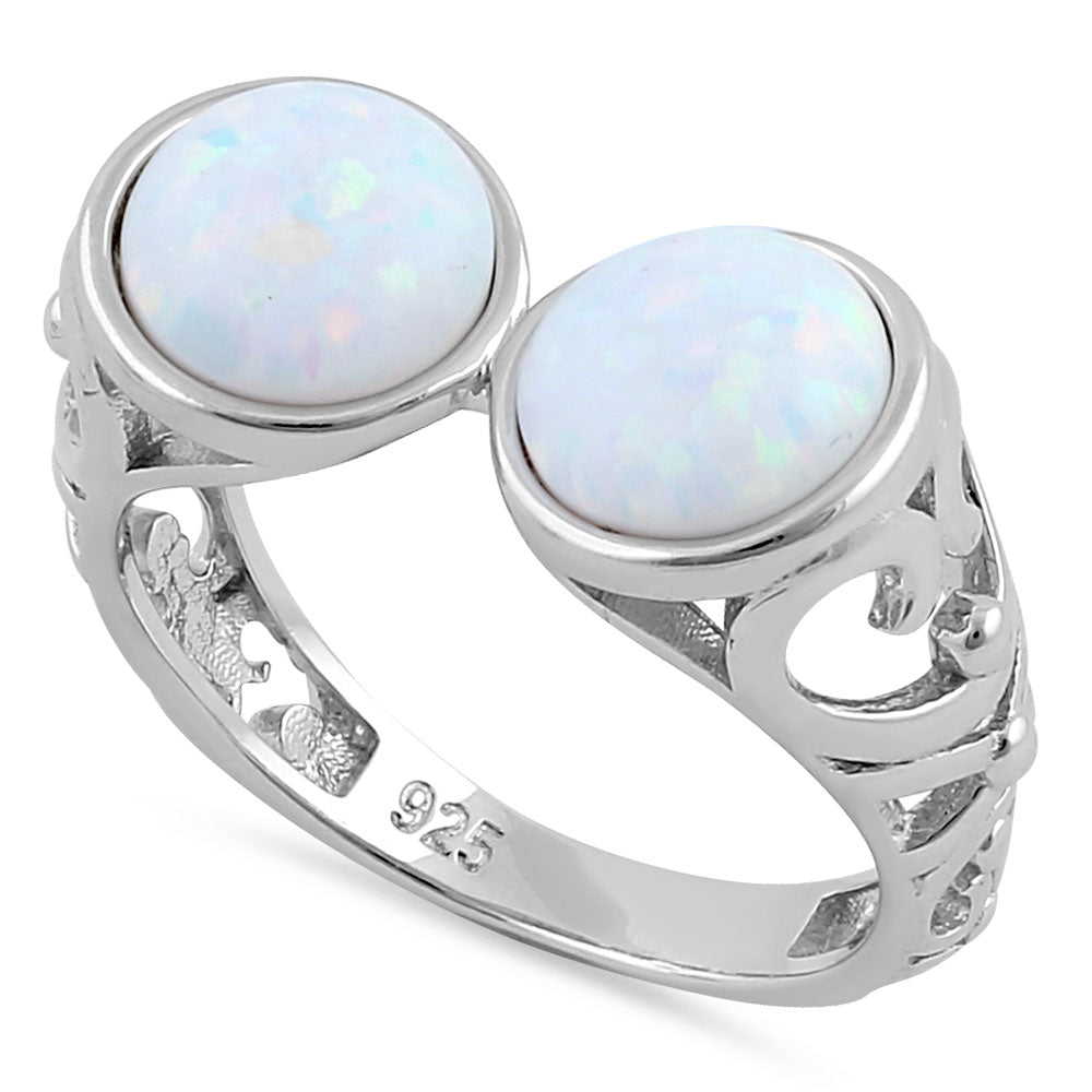 Sterling Silver Filigree White Lab Opal Double Sphere Ring