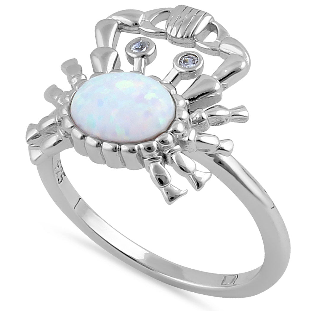 Sterling Silver White Lab Opal Crab CZ Ring
