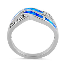 Load image into Gallery viewer, Sterling Silver Blue Lab Opal Greek Untwine Infinity Ring
