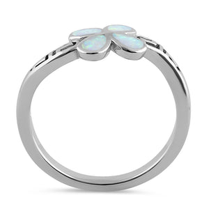 Sterling Silver Twist White Lab Opal Greek Petal Flower Ring
