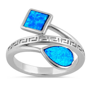 Sterling Silver Blue Lab Opal Greek Pear Square Ring