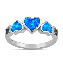 Load image into Gallery viewer, Sterling Silver Blue Lab Opal Sequence of Hearts Ring