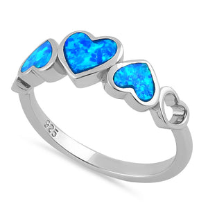 Sterling Silver Blue Lab Opal Sequence of Hearts Ring
