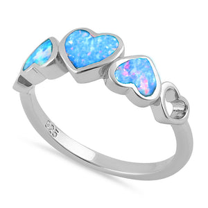 Sterling Silver Blue Lavender Lab Opal Sequence of Hearts Ring