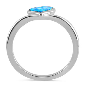 Sterling Silver Blue Lavender Lab Opal Rising Heart Ring