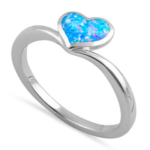 Load image into Gallery viewer, Sterling Silver Blue Lavender Lab Opal Rising Heart Ring