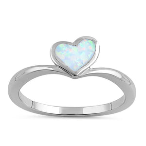 Sterling Silver White Lab Opal Rising Heart Ring
