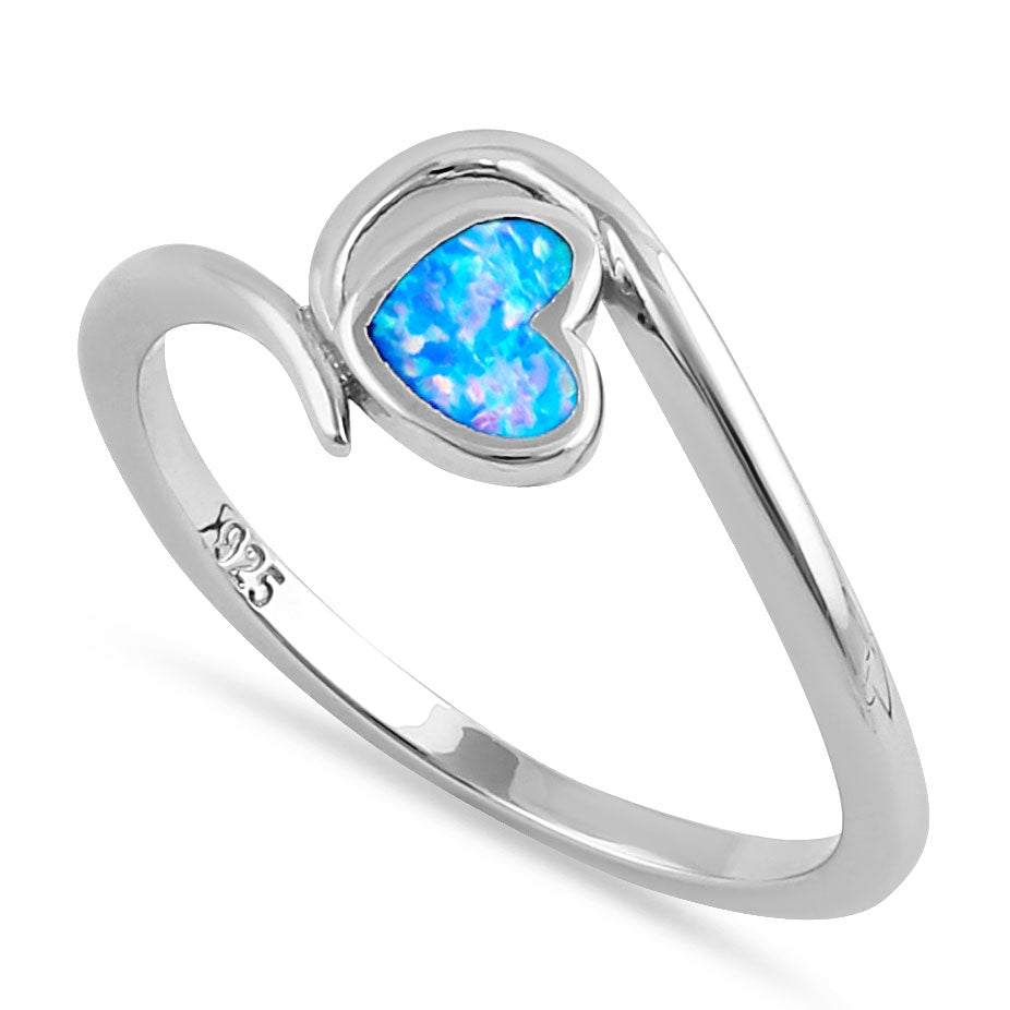 Sterling Silver Blue Lavender Lab Opal  Heart in Wave Ring