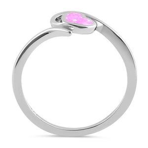 Sterling Silver Pink Lab Opal  Heart in Wave Ring