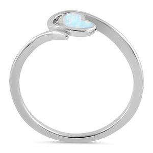 Sterling Silver White Lab Opal Heart in Wave Ring