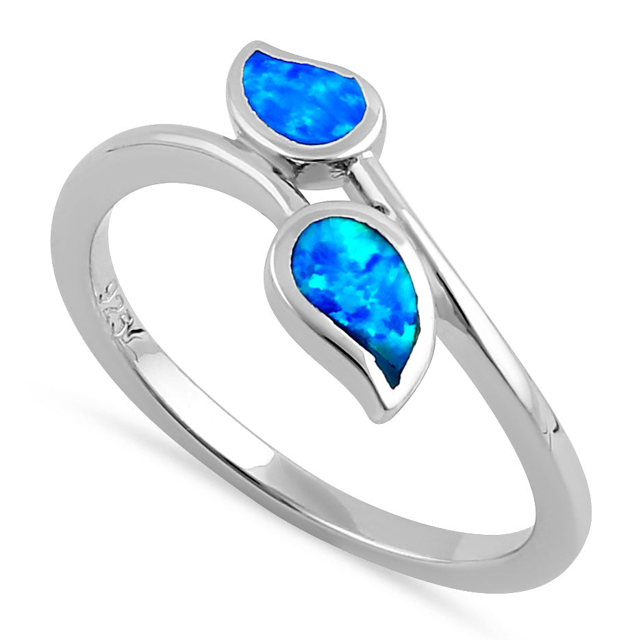 Sterling Silver Blue Lab Opal Double Leaf Wrap Ring