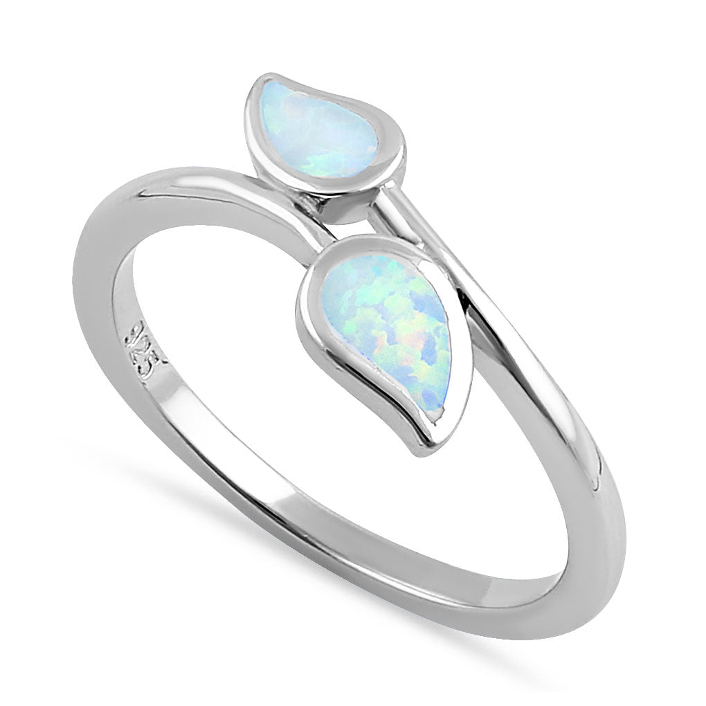Sterling Silver White Lab Opal Double Leaf Wrap Ring