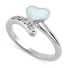 Load image into Gallery viewer, Sterling Silver White Lab Opal Greek Heart Wrap Ring