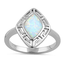 Load image into Gallery viewer, Sterling Silver White Lab Opal Greek Rhombus Ring