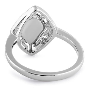 Sterling Silver White Lab Opal Greek Rhombus Ring