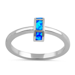 Sterling Silver Blue Lab Opal Semi Circle Ring