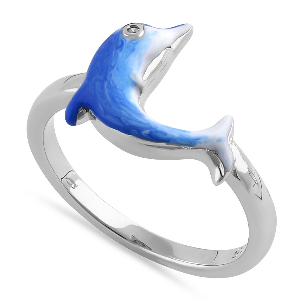 Sterling Silver Hand-Painted Dolphin Multi Colored Dolphin with CZ Ring