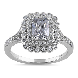 Sterling Silver Chic Emerald Cut Halo Clear  CZ Engagement Ring