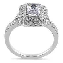 Load image into Gallery viewer, Sterling Silver Chic Emerald Cut Halo Clear  CZ Engagement Ring