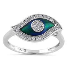 Load image into Gallery viewer, Sterling Silver Hand-Painted  Multi-Colored Evil Eye with Clear CZ Ring