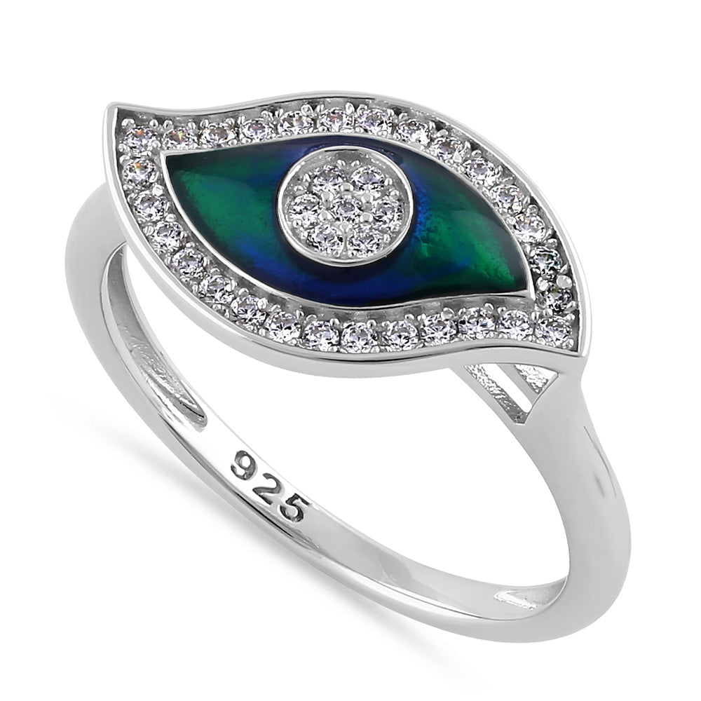 Sterling Silver Hand-Painted  Multi-Colored Evil Eye with Clear CZ Ring
