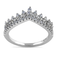 Load image into Gallery viewer, Sterling Silver Vintage Crown Round Cut Clear CZ Engagement Ring